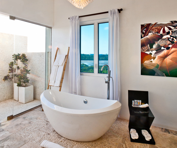 Bathroom at Villa AXA TEQ (Tequila Sunrise) at Anguilla, Sandy Hill, Family-Friendly Villa, Pool, 3 Bedrooms, 3 Bathrooms, WiFi, WIMCO Villas