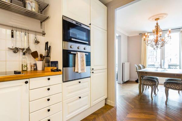 Kitchen at Villa YNF FAU (L'appart Faubourg St-Honore) at France, Paris, Family-Friendly Villa, 2 Bedrooms, 2 Bathrooms, WiFi, WIMCO Villas