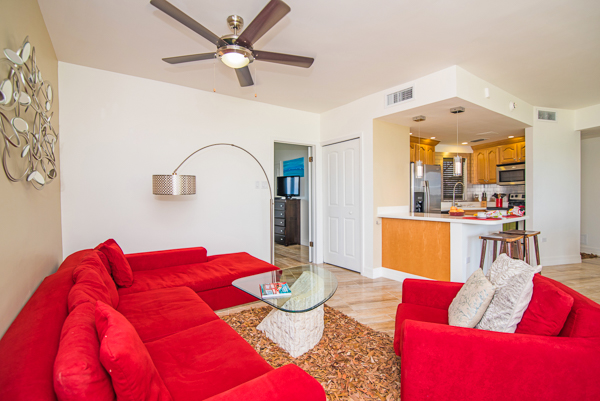 Living Room at WIMCO Villa CM GTV1 (George Town #101) at Seven Mile Beach, Grand Cayman
