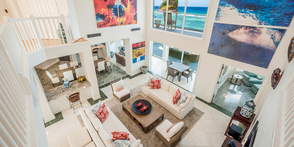 Living Room at WIMCO Villa GCM GBE (Great Bluff Estate) at East End, Grand Cayman