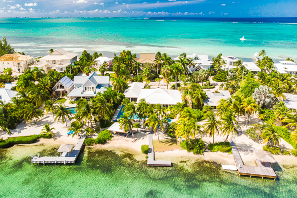 Aerial photo of WIMCO Villa GCM GES (Great Escape) at Rum Point, Grand Cayman