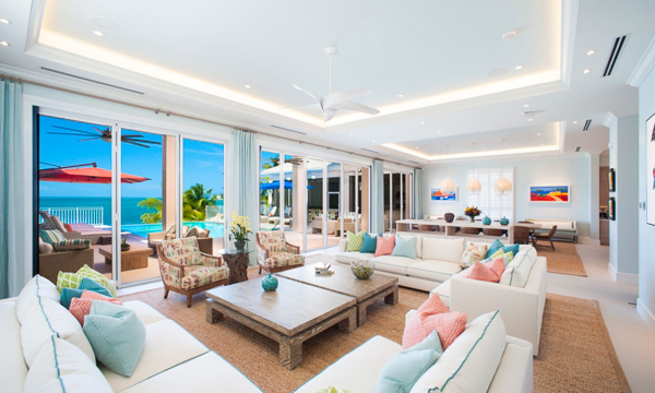 Living Room at WIMCO Villa GCM KKM (Kaia Kamina) at Rum Point, Grand Cayman