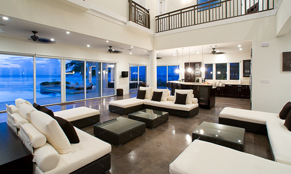 Living Room at WIMCO Villa GCM SUN (Sun Salutations) at Rum Point, Grand Cayman