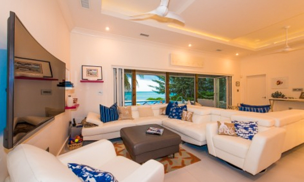 Living Room at WIMCO Villa GCM WHT (White Cottage) at South Shore, Grand Cayman