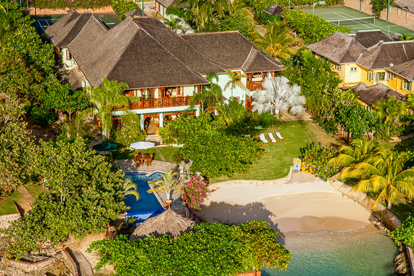 Aerial photo of Villa VL WWB (Whispering Waters on the Beach) at Jamaica, Discovery Bay, Family-Friendly Villa, Pool, 7 Bedrooms, 7 Bathrooms, WiFi, WIMCO Villas