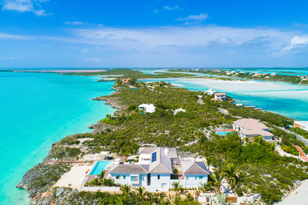 Aerial photo of Villa IE HES (Hesperides House) at Turks & Caicos, Silly Creek/Taylors, Family-Friendly Villa, Pool, 5 Bedrooms, 5 Bathrooms, WiFi, WIMCO Villas