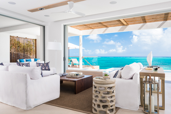 Living Room at WIMCO Villa TC BEB4 (Beach Enclave North Shore 4BR Beachfront) at Babalua Beach, Turks & Caicos