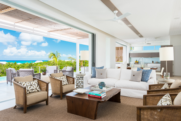 Living Room at WIMCO Villa TC BEO5 (Beach Enclave North Shore 5BR Ocean View) at Babalua Beach, Turks & Caicos