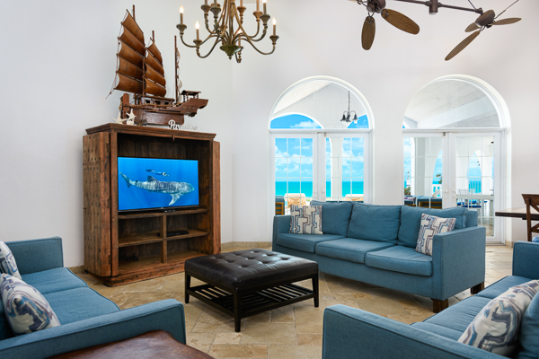 Living Room at Villa TNC COO (Conched Out) at Turks & Caicos, Long Bay Beach, Family-Friendly Villa, Pool, 7 Bedrooms, 7 Bathrooms, WiFi, WIMCO Villas