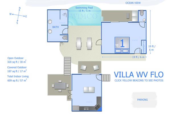 Villa WV FLO (Leana) at St. Barthelemy, Colombier, Family-Friendly Villa, Pool, 1 Bedrooms, 1 Bathrooms, WiFi, WIMCO Villas