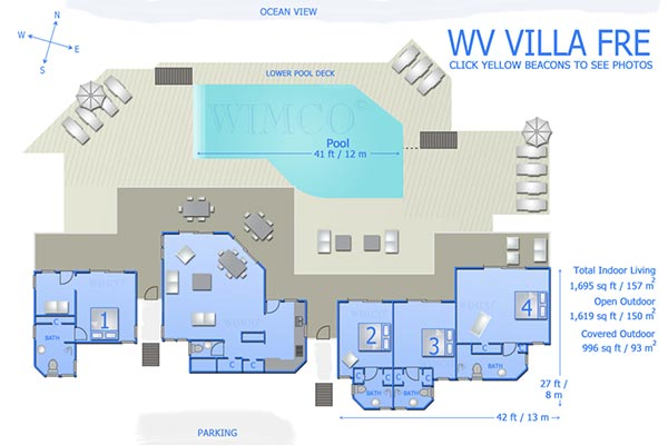 Villa WV FRE (Fregate) at St. Barthelemy, Pointe Milou, Family-Friendly Villa, Pool, 4 Bedrooms, 5 Bathrooms, WiFi, WIMCO Villas