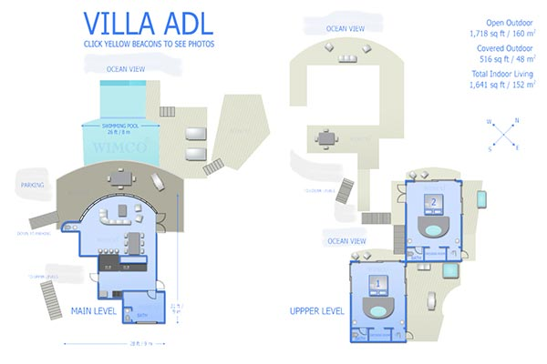 Villa WV ADL (Ananda) at St. Barthelemy, St. Jean, Family-Friendly Villa, Pool, 2 Bedrooms, 3 Bathrooms, WiFi, WIMCO Villas