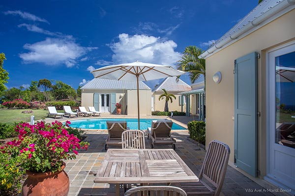 Terrace at Villa WV AVE (Avel Armor) at St. Barthelemy, Mont Jean, Family-Friendly Villa, Pool, 3 Bedrooms, 3 Bathrooms, WiFi, WIMCO Villas