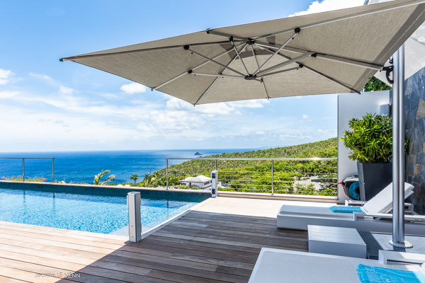 Deck at Villa WV AVN (Avalon) at St. Barthelemy, Gouverneur, Family-Friendly Villa, Pool, 4 Bedrooms, 4 Bathrooms, WiFi, WIMCO Villas