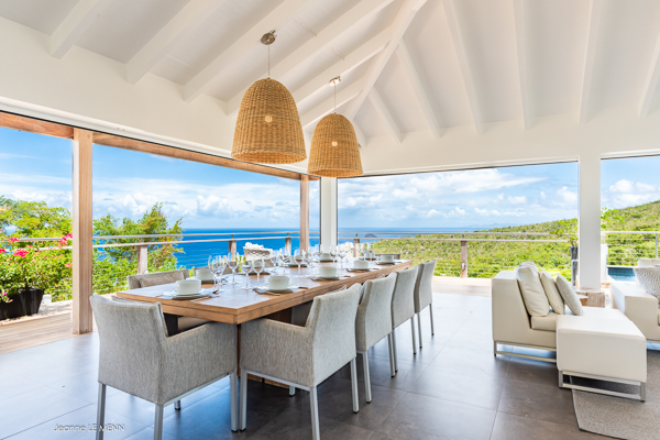 Dining Room at Villa WV AVN (Avalon) at St. Barthelemy, Gouverneur, Family-Friendly Villa, Pool, 4 Bedrooms, 4 Bathrooms, WiFi, WIMCO Villas