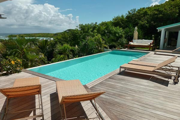 Deck at Villa WV BLU (Blue Lagoon) at St. Barthelemy, Grand Cul de Sac, Family-Friendly Villa, Pool, 3 Bedrooms, 2 Bathrooms, WiFi, WIMCO Villas