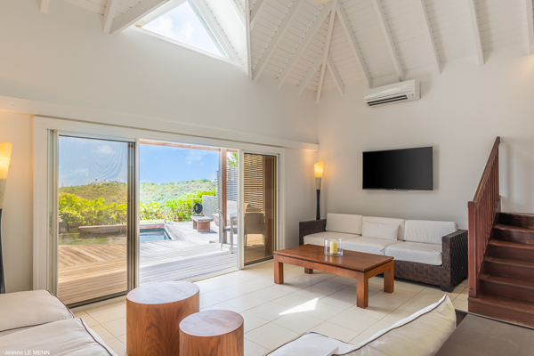 Living Room at Villa WV BON (Bonbonniere) at St. Barthelemy, Pointe Milou, Pool, 1 Bedrooms, 2 Bathrooms, WiFi, WIMCO Villas