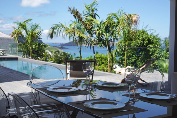 Dining Room at WIMCO Villa WV GVB (Good Vibrations) at St. Jean, St. Barthelemy