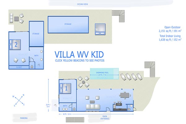 Villa WV KID (Ananda) at St. Barthelemy, Pointe Milou, Family-Friendly Villa, Pool, 2 Bedrooms, 2 Bathrooms, WiFi, WIMCO Villas