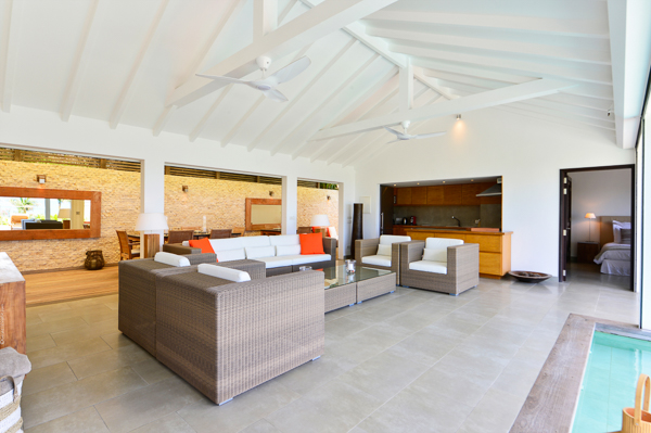 Living Room at WIMCO Villa WV RIN (RINCON) at Pointe Milou, St. Barthelemy