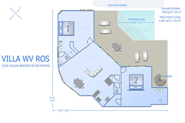 Villa WV ROS (Wastra) at St. Barthelemy, Gustavia, Family-Friendly Villa, Pool, 2 Bedrooms, 2 Bathrooms, WiFi, WIMCO Villas