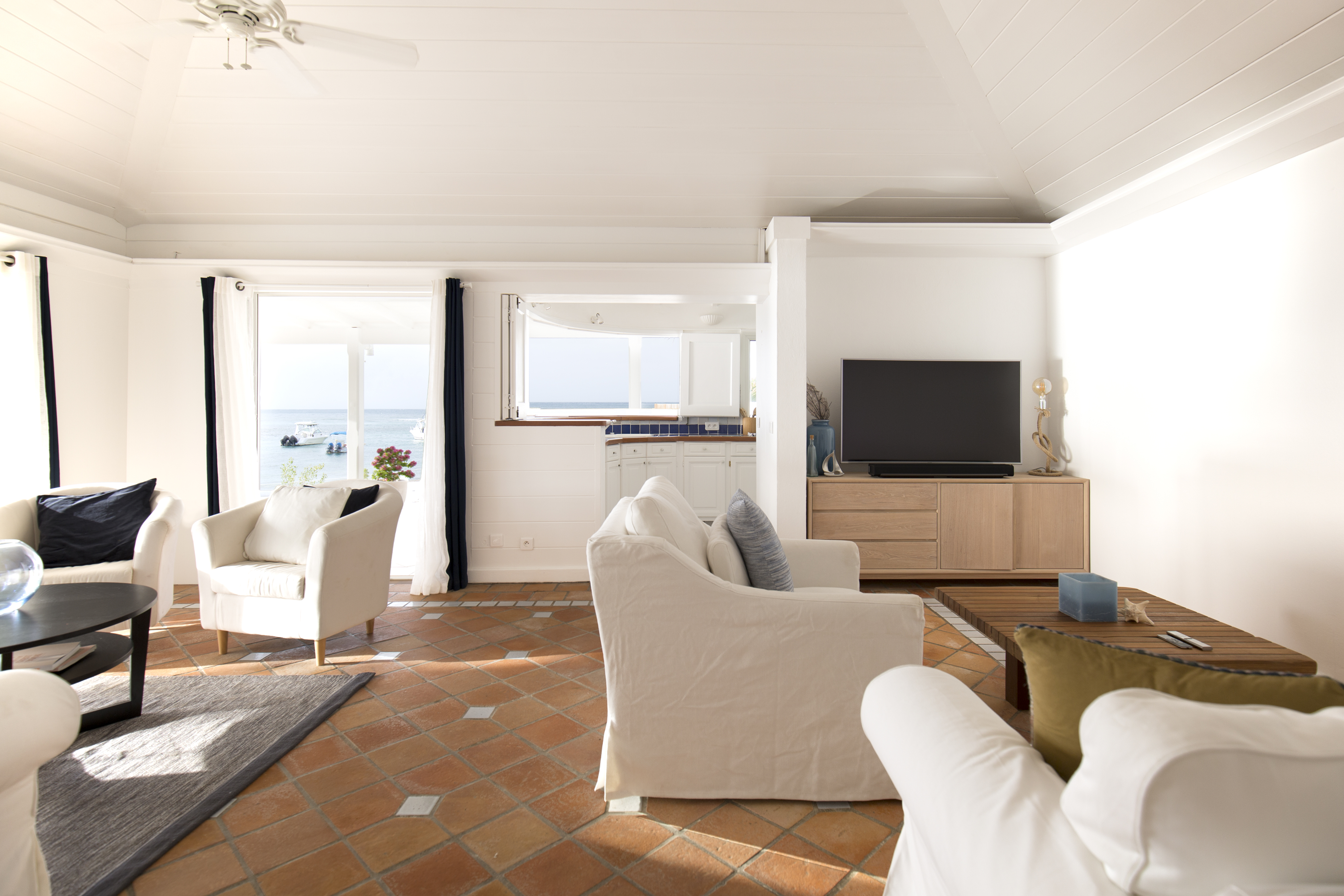 Living Room at WIMCO Villa WV VSC (Sand Castle) at Lorient Beach, St. Barthelemy