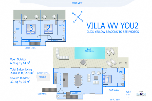 Villa WV YOU2 (You) at St. Barthelemy, St. Jean, Family-Friendly Villa, Pool, 3 Bedrooms, 3 Bathrooms, WiFi, WIMCO Villas