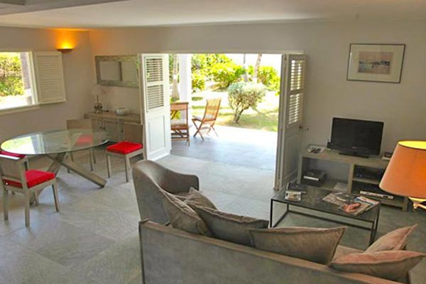 Living Room at Villa WV RLD2 (Les Sables d'Or) at St. Barthelemy, St. Jean, 2 Bedrooms, 2 Bathrooms, WiFi, WIMCO Villas