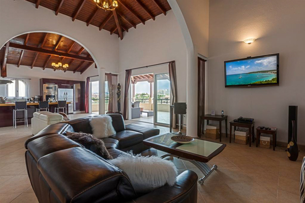 Living Room at Villa PIE CAR (Caribbean Pearl) at St. Martin, Beachfront/Cupecoy, Family-Friendly Villa, Pool, 2 Bedrooms, 2 Bathrooms, WiFi, WIMCO Villas