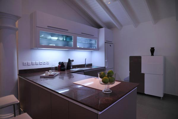 Kitchen at Villa PIE LOR (La Perla Bianca) at St. Martin, Beach Side/Baie Rouge, Family-Friendly Villa, Pool, 1 Bedrooms, 1 Bathrooms, WiFi, WIMCO Villas