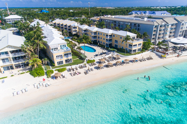 Aerial photo of Villa CM R211 (Regal Beach 2 BR) at Seven Mile Beach, Grand Cayman, Family-Friendly, Pool, 2 Bedroom, 2 Bathroom, WiFi, WIMCO Villas
