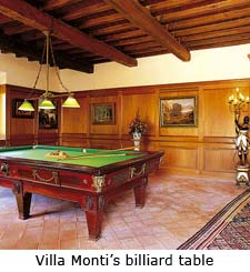 Villa Monti's billiard table, umbria villa rentals, italy villa vacations